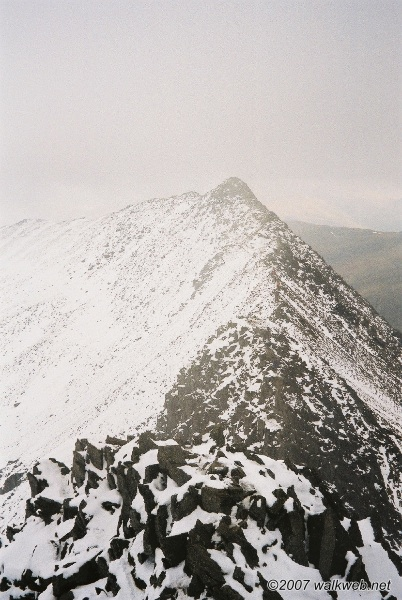 Looking back over Striding Edge